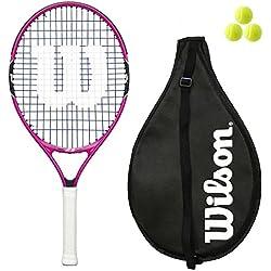 Wilson Burn Junior Raquette de tennis 19,21,23,25 avec 3 balles, rose/orange, rose, 23