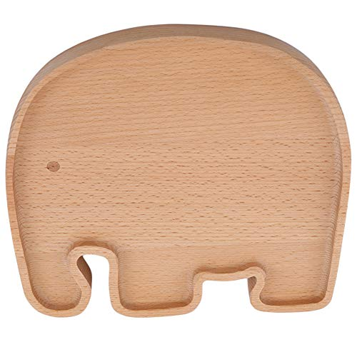 Ellepigy Kinder Cartoon Tier Shaped Holz Tablett Nette Obstschale Kinder Dessert Snacks Servierplatte Geschirr (Elefant) (Tier-servierplatte)