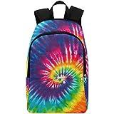 Interestprint Custom Tribal Rainbow Tie Dye Casual Backpack School Bag Travel Daypack Gift