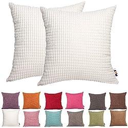2 fundas decorativas para cojín, de Comoco, de color sólido, de pana, diseño a rayas, tipo lona, para sofá, disponible en 15 colores y 7 tamaños, Off White, 60 x 60 cm