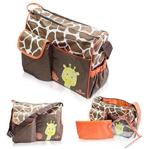Wickeltasche mit Giraffen-Muster, braun - 2