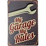 Bargain World mi garaje de chapa por barra cartel pub decoración casera de la pared la placa de metal de la vendimia