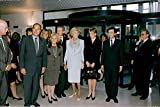 Vintage photo of Jacques Chirac together with Bernadette Chirac, Bernhard Arnault, Claude Pompisou, Princess Diana and Philippe Douste-Blazy at an exhibition.