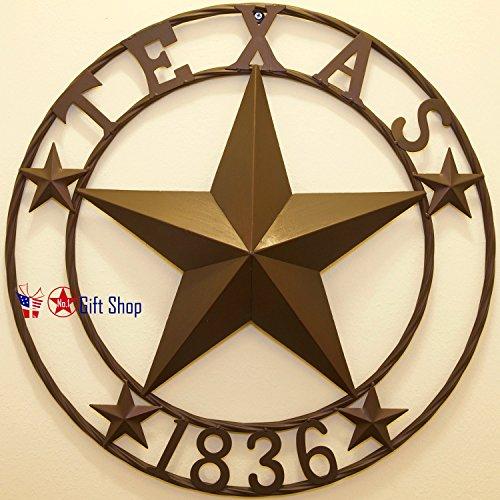 Texas Dekor (BestGiftEver Texas Metall Star Circle Wandbehang Dekor 24 inches Metal Circle - Texas 1836 Wall Hanging Decoration Plaque)