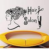 Friseursalon Spa Mode Frau Gesicht Haarschnitt Schere Haarglätter Wandaufkleber Abnehmbare Vinyl Diy Friseur Aufkleber 44X69 Cm