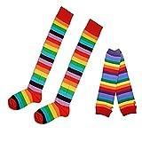 Jelinda Unisex Gotik Rock Rainbow Color Long Arm Warmer Fingerlose Weihnachten Kostüm Kleid Regenbogen Handschuhe Gloves (Handschuhe + Strümpfe)