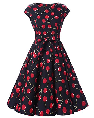 164dad05671c MISSMAO Donna Manica di Copertura Stile Hepburn Vestito da Partito retrò  Anni 50 Gonna Stampata Popolare