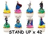 42x Disney Frozen Anna ELSA Olaf Zeichen Party Stand up Essbare Papier Cupcake Topper Kuchen Dekorationen