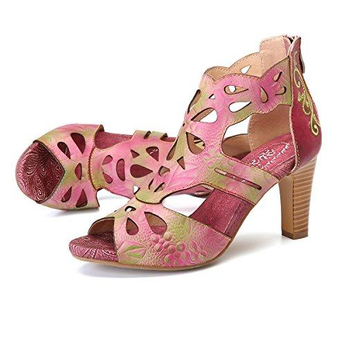TMKOO 2017 nuevos zapatos redondos salvajes de las mujeres con la correa del tobillo grueso zapatos de tacón alto zapatos de primavera de tamaño sub-grandes ( Color : Rojo , tamaño : 37 )