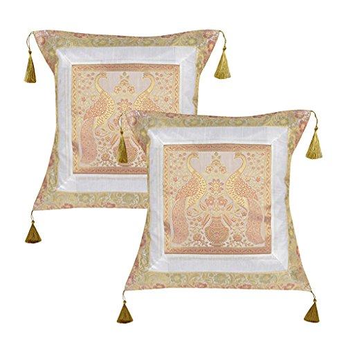 Indische Seide Pfau Design Kissenbezüge Sofa Dekorationen 45 x 45 Cm Set 2