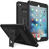 MoKo Hülle für iPad Mini 4 - Silikon + Schwarz Hart Polycarbonat Protector mit faltbarem Kickstand Schutzhülle Case mit Standfunktion für Apple iPad Mini 4 7.9 Zoll IOS 2015 Genaration Tablet, Schwarz