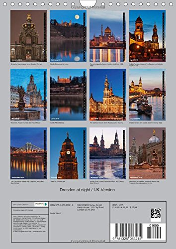 Dresden at night / UK-Version (Wall Calendar 2016 DIN A4 Portrait): Dresden at night, beautiful German city on the Elbe river (Monthly calendar, 14 pages) (Calvendo Places)