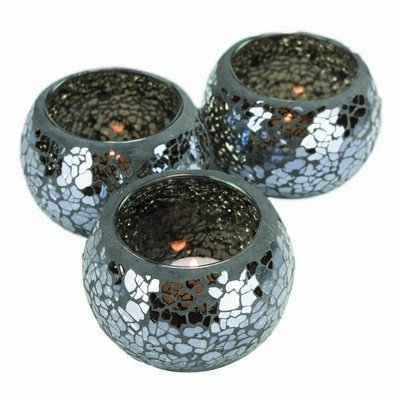 Essential Black Mosaic Tealight Holders (set of 3) [E94095] Cleva G7 Edition