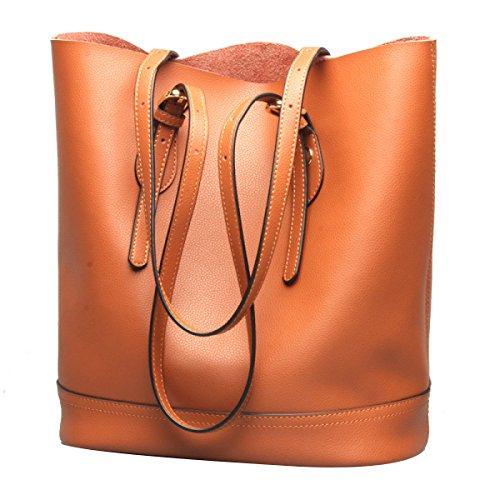 Sommer-Frauen Leder-Wannen-Beutel-Handtaschen-Geldbeutel-Schulter Tote Cross-Body-Tasche Brown