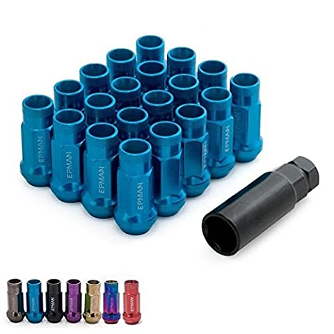 Epman MT V48 Auto Steel Acorn Rim Extended Open End Wheel Racing Lug Nuts with One Key M12X1.5