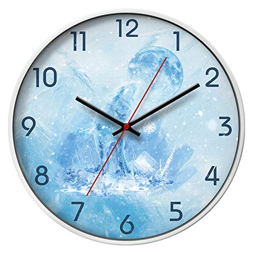 Frost White Frame (Art Decoration Clock of Living Room Wall Clock of Nordic Style Elk Wall Clock with Circular Mute Narrow Frame Clock,14 inches,Frost White Frame)