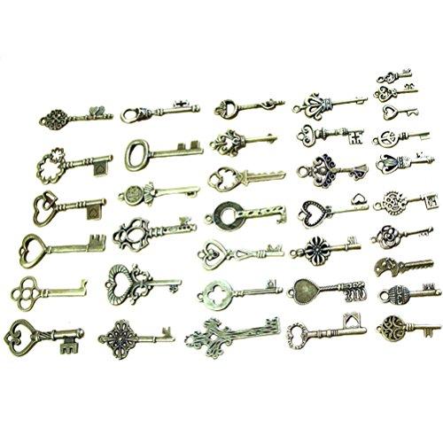 Bestim incuk 40Pack Vintage Skelett Schlüssel Charms in Antik Bronze Farbe für Schmuck-Herstellung, Steampunk Zubehör, Craft Projekte