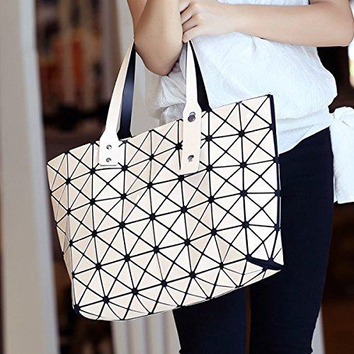 Die Neue Weiblich Nähen Geometrische Tasche Diamant Farbe Brot Falten Handtaschen White