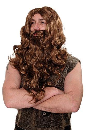 WIG ME UP ® - WIG007-P8 Peluca y Barba Carnaval Halloween Vikingo Fiera Bárbar marrón claro