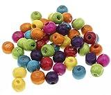 Perlin - 300stk Holzperlen 14mm Kugeln Holzkugeln mit loch Bunte Rund Holz Perlen zum fädeln Perlenmischung für DIY Schmuck Herstellung Wood Beads H128 x2