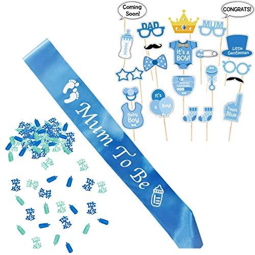 / Baby Shower Junge / Baby Party Dekoration, Neugeborene Fotorequisiten Masken, Mum to Be Blau Schärpe und Konfetti ()
