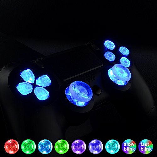 eXtremeRate PS4 Tasten Knöpfe Thumbsticks D-Pad Steuerkreuz LED Kit für Sony Playstation 4 Dualshock 4 Controller Bundle Button Munition Thumbsticks Bullets Zubehör (Leuchttaste)