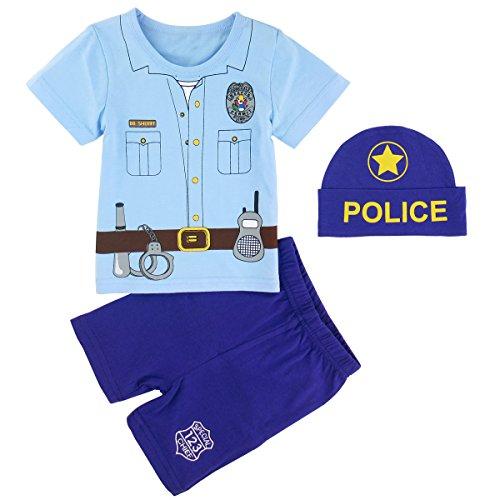 Mombebe Baby Jungen Halloween Piraten Shirt Sets mit Hüte (12-18 Monate, - Schnelle Kleinkind-halloween-kostüme