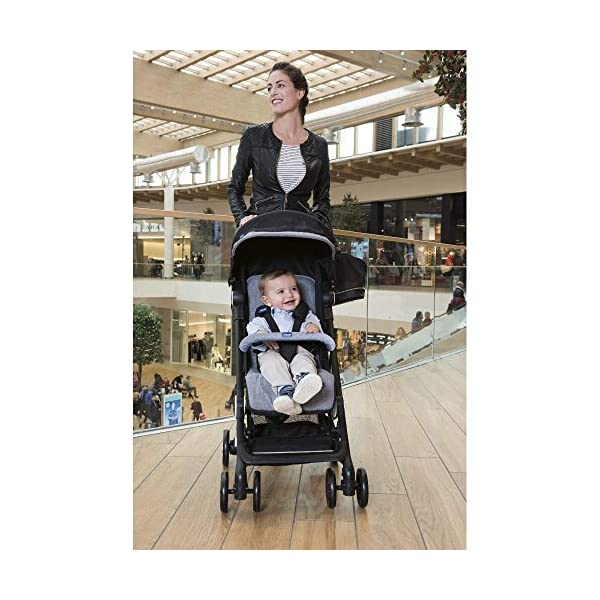 Chicco Minimo Stroller With Bumper Bar - Black Knight Chicco - BabySecurity Suitable from birth to 15kg Lightweight- only 5.8kg! One hand folding system 8