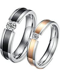 Beydodo His and Hers Rings Size J 1/2-V 1/2 Round Cubic Zirconia Black Silver Rose Gold Stainless Steel Ring