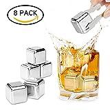 REIDEA Whisky Steine (8 Stück) Geschwindigkeit eingefroren Eiswürfel, Zum Kühlen Von Whiskey Wein, Cocktail | Geschenke Für Whiskyliebhaber | Wiederverwendbare kühlsteine| Kühlwürfel | Bar Accessoires