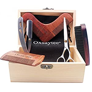 Beard Care Set, Beard Brush + Beard Comb + Beard Shaper + Scissors + Razor Set for Men, Beard Care Grooming Kit for Home and Travel with Wooden Box, Ideal Gift for Men-Dad's Birthday Father's Day (New)