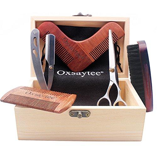 Kit Barbe Tools 6 pcs, Oxsaytee Kit d'Entretien et de soin pour Barbe & Moustache,...