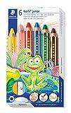 STAEDTLER 140 C6 3in1 Buntstift Noris junior (Bunt-, Wachsmal- und Aquarellstift, extra bruchsicher, ideal für Kinder, für viele Oberflächen, Kartonetui mit 6 Farben inkl. Spitzer)