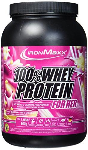IronMaxx 100{33d74a4f92a7c23b307bd874a11b7fb5d7d06e7cc83a84f80652c8b19748e635} Whey Protein for Her-Geschmack Himbeere-Weiße Schokolade, 900 g