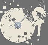 GRAZDesign 800394_SI_816 Wandtattoo Uhr mit Uhrwerk Wanduhr für Kinderzimmer Fee Elfe Sterne Zahlen (60x57cm//816 Antique White//Uhrwerk silber)