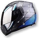 Casco de Motocicleta de Cara Completa para Hombres, Doble Lente Casco NENKI830 Spiderman Casco de