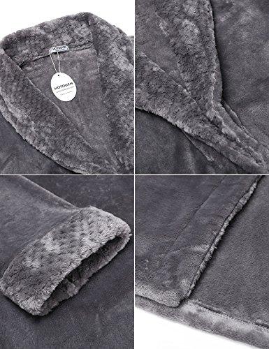 HOTOUCH Damen Bademantel Morgenmantel Lang Saunamantel Soft Fleece Nachtwäsche Robe Mit Gürtel Typ1-Grau