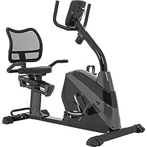 GORILLA SPORTS® Liege-Ergometer mit 3 kg Schwungrad - Sitz-Heimtrainer Fahrrad für Zuhause mit Trainingscomputer und Pulssensoren