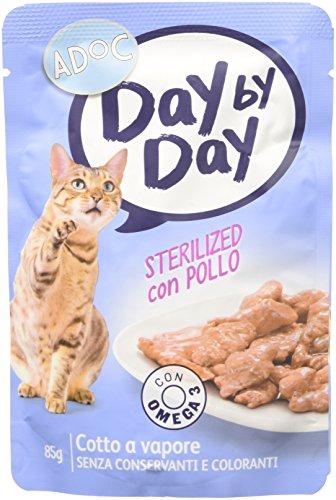 Adoc day by day sterilized con pollo per gatti adulti sterilizzati, confezione da 24 pezzi