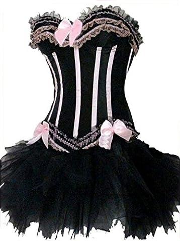 Ladies Burlesque Moulin Rouge Corset + TUTU Sexy 2 Piece Fancy Dress Costume Pink with Black Stripes Bustier Lingerie Corset Halloween Hen Party Outfit (UK