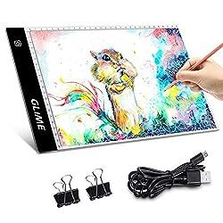 GLIME Licht Pad A4 LED Leuchttisch Leuchtplatte Light Pad LED Zeichnung Pad einstellbare Hettigkeit Lichtkasten Copy Board mit USB Kabte Ideal fur Designen Kopieren Zeichnen Skizzieren Animation