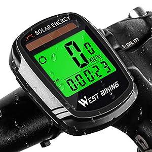 51xmq7bUwCL. SS300  - Fahrradcomputer mit solarbetriebenem Kabelloser wasserdichter Fahrrad-Tachometer, Kilometerzähler, automatisches Aufwachen, Multifunktions-Fahrradcomputer mit Hintergrundbeleuchtung, LCD