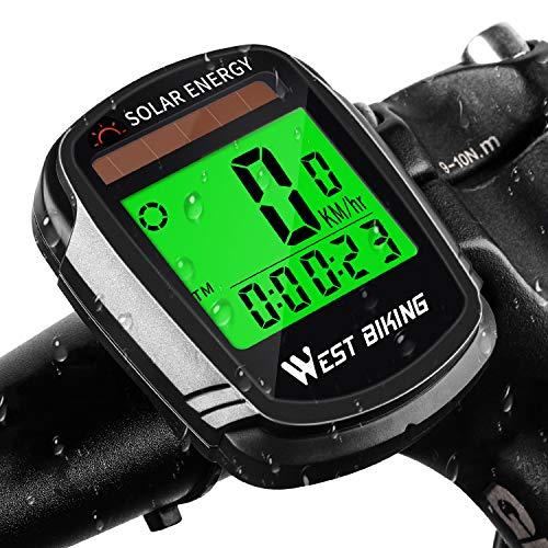 Fahrradcomputer mit Solarbetriebenem, Kabelloser Wasserdichter Fahrrad-Tachometer Kilometerzähler, Automatisches Aufwachen, Multifunktions-Fahrradtacho mit Hintergrundbeleuchtung, LCD