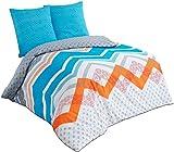 Buymax - Bettwäsche-Set aus Polycotton, 200 x 200 cm, Türkis Orange, Geometrisch Streifen