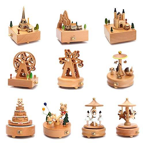 Music Box Carousel Musical Boxen Holz Musik Box Holz Handwerk Retro Geburtstag Geschenk Vintage Home Dekoration Zubehör ()