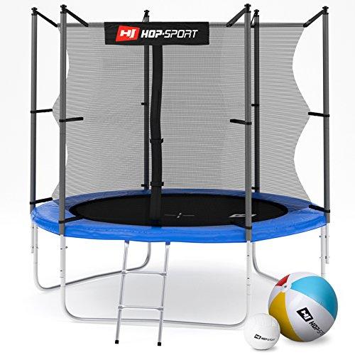 Hop-Sport Gartentrampolin 244, 305, 366, 430, 490 cm Komplettset inkl. Innennetz Leiter Wetterplane Erdanker (244 cm)