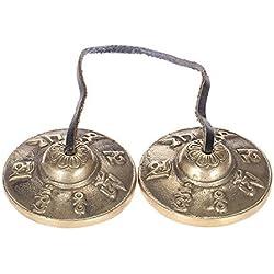 ammoon 2.6in / 6.5cm Hechos a Mano La Meditación Tibetana Tingsha Platillo de Bell con Budista Símbolos de la Suerte