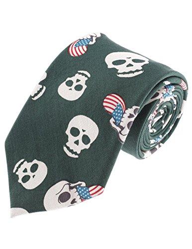 FLATSEVEN Designer Krawatte mit Totenkopf-Muster - Grün - Einheitsgröße