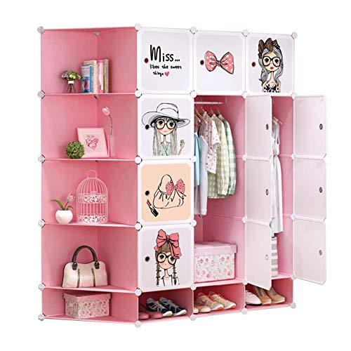 Organizer Rosa niedliches Muster tragbarer Kleiderschrank für hängende Kleidung, DIY-Kombinationsschrank, modulares Kabinett für Platzersparnis, idealer Speicher-Organisator-Würfel-Schrank für Bücher, -