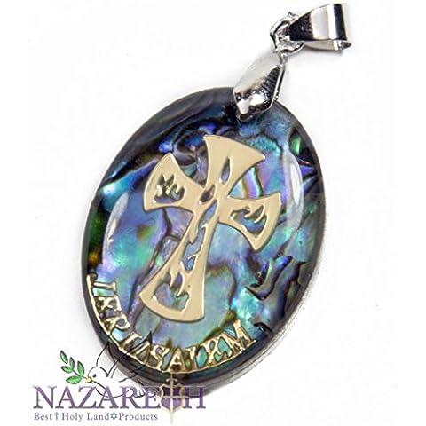 Seashell di Terra Santa Croce Crocifisso madre perla pendente a mano medaglia 1,2